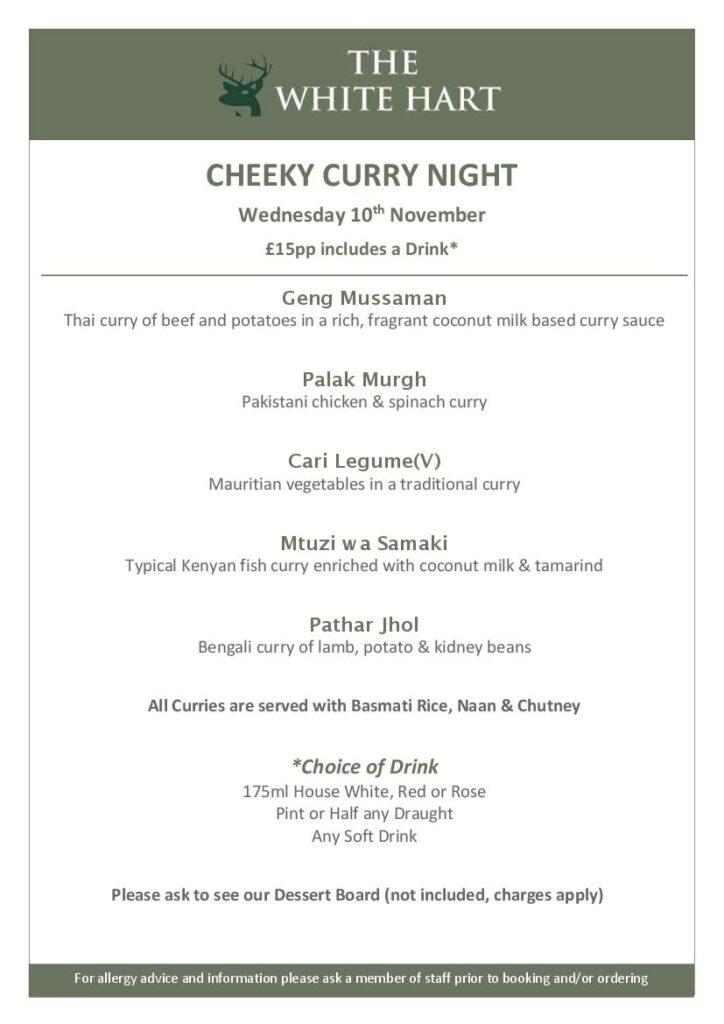 Cheeky Curry Night menu